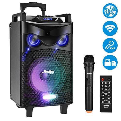 Moukey Tragbares kabellos Karaoke Lautsprecher Spitzenleistung 520W Lautsprechersystem, MTs10-1 PA DJ Anlage für den Außenbereich, mit 10 Zoll Subwoofer DJ-Lichtern UKW-Mikrofon, MP3 / USB/SD/FM-Radio