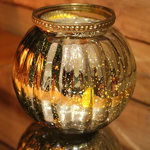 Carousel Home Antique Gold Mercury Effect 13cm x 11.5cm Ribbed Candle Pot Tealight Holder