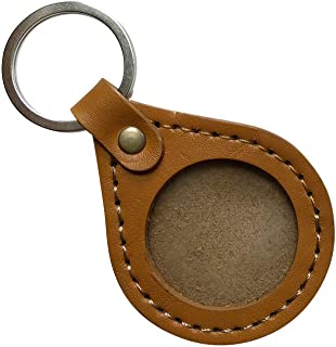 Handmade, Genuine Leather AA Medallion or Coin Holder Key Chain, Tear Drop (Gold)