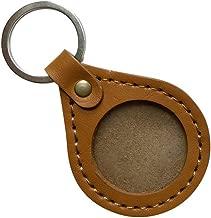 AA Medallion or Coin Holder, Leather Keychain, Tear Drop (Gold)