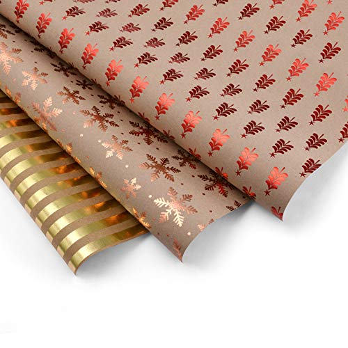 Imoislab Christmas Kraft Wrapping Paper,Kraft Paper for Birthday, Halloween,Wedding Gift - 3 Sheets Packed as 1 Roll - 19.5 x 27.5 Inches Per Sheet