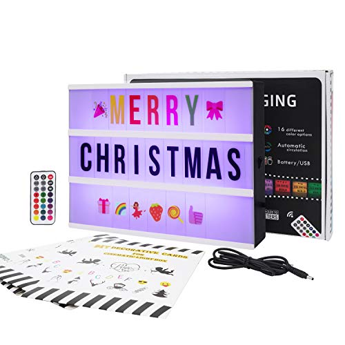 Gemaxvoled Cinema Light Box-A4 Size 16 Colors Changing Light Up Letter Box with 270 Letters & Symbols for Party Christmas Home Decor