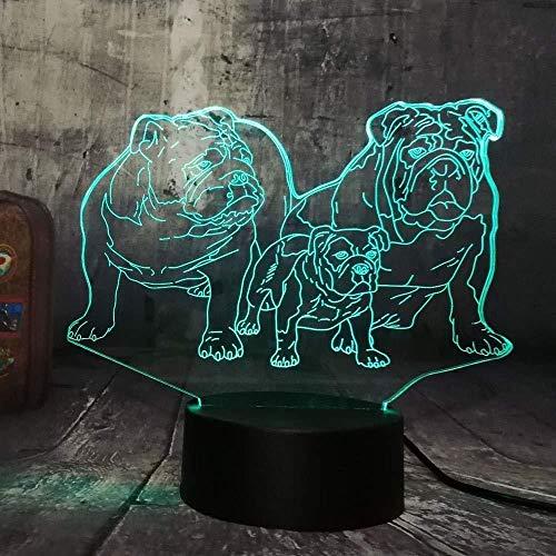 Luz De Noche 3D Novedad Lindo Cachorro Bulldog Familia Luz De Noche Led 3D Perro Encantador Perrito Mesa De Animales Hogar Dormir Casa Decoración Lámpara Niño Niño Regalo