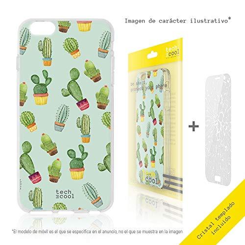 Funnytech Cover Nokia 5.1 Custodia in Silicone (TPU) per Nokia 5.1 [Design Esclusivo, Stampa ad Alta Definizione] [Cactus patrones Fondo Verde]