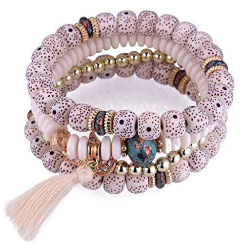 YAZILIND Multi-Layer Acrylic Resin Bodhi Beads Elastic Chain Bracelet Vintage Tassel Pendant Prayer Buddhist Bracelets(White)
