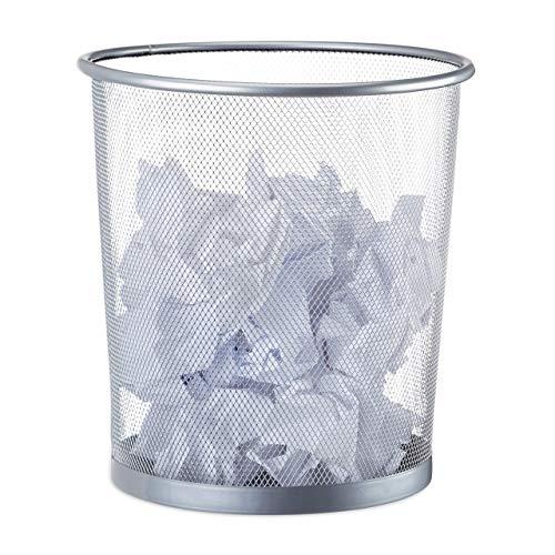 Relaxdays Poubelle métal maille Corbeille à papier bureau chambre treillis métallique 26 cm Ø, hauteur 27,5 cm, argenté