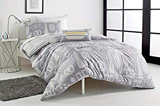 DKNY Kids NYC Duvet Cover, Sham and Accent Pillow Set, Twin, Grey