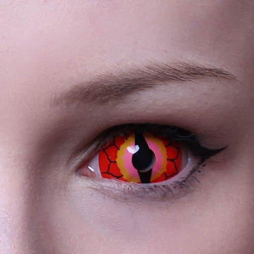 MATLENS – Eye love Autumn Ignuana Sclera Kontaktlinsen Crazy Fun Motiv Halloween rot red 2 Linsen 1 Kontaktlinsenbehälter 1 Pflegemittel 50ml
