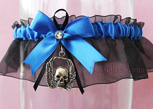 Customizable handmade - Skull and wings charm - Royal blue satin & black organza keepsake garter