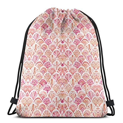 LREFON Bolsas con cordón de gimnasio Mochila Coral Pink Mermaid Sackpack Tote para almacenamiento de viaje Organizador de zapatos Hombro escolar Botella de agua Niños