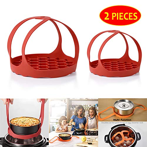 Pressure Cooker Sling Silicone Bakeware Sling for Instant Pot 3 Qt, Compatible with Other Brand Multi Function Cookers,2 Packs,Red