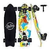 BELEEV Cruiser Skateboard 27x8 inch Completo Skateboard per Bambini, Giovani e Adulti, 7 Strati di Acero Canadese Double Kick Deck Concavo con all-in-One Skate T-Tool (Giallo)