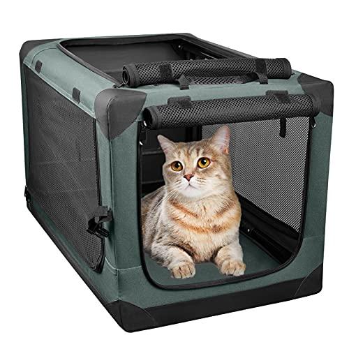 PUPPY KITTY Katzenbox faltbar, Auto Transportbox für Katzen und Welpen, Hundebox S für Autositz, Rücksitz, tragbar Reisekäfig Welpenbox, atmungsaktives Netz, 35 * 35 * 51 cm, Olive.