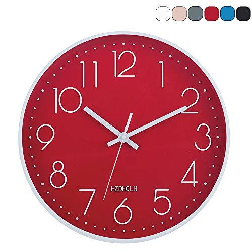 HZDHCLH 30cm Modern Quartz Lautlos Wanduhr Schleichende Sekunde mit Arabisch Ziffer ohne Ticken für Dekoration Wohnzimmer, Küche, Büro, Schlafzimmer (Rote)