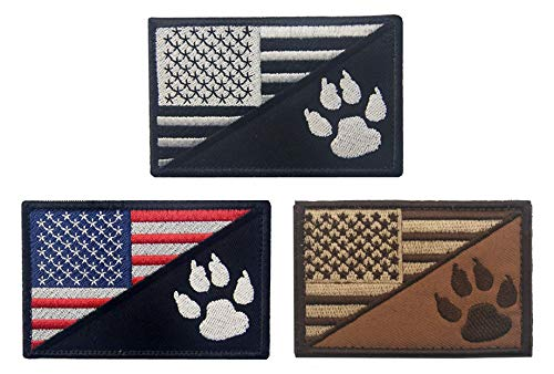 Antrix 3 Pcs US Flag/Service Dog K9 Paw Tracker Tactical Police Dog Patch Hook & Loop Morale Patch for Medium and Large Dog Vests/Harnesses