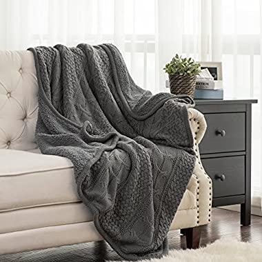 Bedsure Knitted Sherpa Throw Blanket Grey Knit-Sherpa 50x60 Rustic Home Decor Bedding Blanket