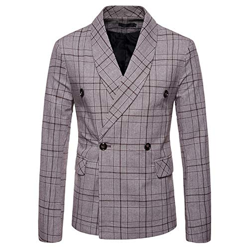 HARRYSTORE Mens Lattice Blazer Jacket for Men's Checked Double-Breasted Button Suit Coat Wedding Party