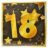 Udo Schmidt GmbH & Co. 20 tovaglioli di carta per compleanni, 18 anni, colore: oro/nero