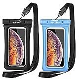 VGUARD [2 Pezzi] Custodia Impermeabile Galleggiante Smartphone, IPX8 Modello Universale Borsa Impermeabile Sacchetto Impermeabile Cellulare Dry Bag per iPhone, Samsung, Huawei, ECC. (Nero+Blu)
