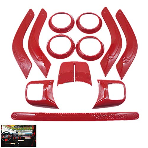 Bosting 12PCS Interior Decoration Trim Kit for Jeep Wrangler JK JKU Center Consoles Full Set, Door Handle Cover & Air Outlet Trim & Steering Wheel Trim & Passenger Seat Handle, 2011-2018 (Red)