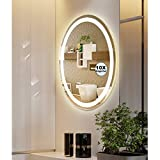 M LTMIRROR LED Lighted Oval Vanity Bathroom Makeup Mirrors with Magnifier,Wall Mounted Anti-Fog Dimmable Touch Button High Lumen CRI 90 Vertical