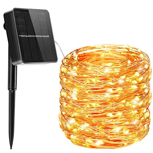 Guirnaldas Luces Exterior Solar, Cadena de Luces 26M 240 LED 8 Modos con Función de Memoria, Luz Navidad Impermeable IP65 para Jardín, Fiestas, Patio, Arboles, Bodas, Decoración - Blanco Cálido