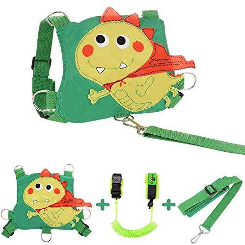 Gitua 3er/Set Laufleine für Baby, Weiche Baumwolle und Polyester Rucksack + Sicherheitsleine + Anti-verloren Gürtel für Baby & Kleinkind (Dinosaurier)