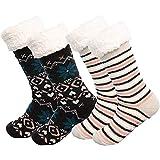 Y56 2 Paar Damen und Herren Winter Haussocken, Kuschelsocken Winter Warme Socken Stoppersocken...