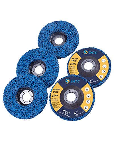 "S SATC Strip Discs 5PCS Bule Stripping Wheel 4-1/2"" x 7/8"" Fit Angle Grinder Clean and Remove Paint Rust and Oxidation"