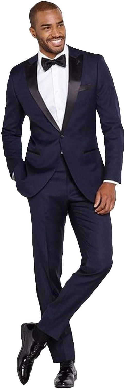 Mail order Frank Men's Tuxedo Suit Peaked Lapel San Antonio Mall Slim Single 1 Button Br Fit