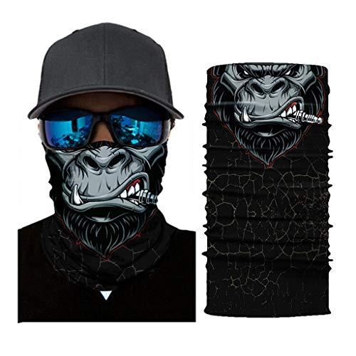 Madmoon Multifunktionstuch Herren & Damen - Atmungsaktiv & Schnelltrocknend - Wind Face Shield - Motorrad Gesicht Mundschutz Lustig Skull Chopper Mund-Tuch Halsschlauch Halstuch mit Motiv (I)