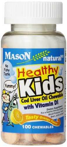 Mason Natural Vitamin Healthy Kids Cod Liver Oil and Vitamin D, Tasty Chewable Orange Flavor, 100-Count, (Pack of 3)