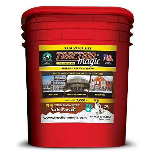 Traction Magic for Snow & Ice Instant Grip, No Slip Falls on Outdoor Sidewalk Walkway, Free Car Vehicle Driveway, Child Pet Dog paw Safe, 100% Salt & Chloride Free -35lb