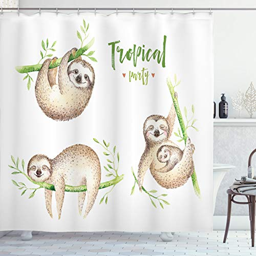 ABAKUHAUS Faultier Duschvorhang, Süße Babys Palmblätter, mit 12 Ringe Set Wasserdicht Stielvoll Modern Farbfest und Schimmel Resistent, 175x180 cm, Hellbraun Grün