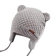 JOYORUN Unisex - Baby Mütze Beanie Strickmütze Unifarbe Wintermütze Grau 38-42cm (Hersteller Größe: S)