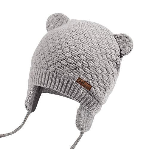 JOYORUN Unisex - Baby Mütze Beanie Strickmütze Unifarbe Wintermütze Grau 47-50cm (Hersteller Größe: L)