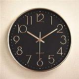 DearSnow Reloj de Pared, Oro Rosa, Negro, 10 Pulgadas, Colgante silencioso, Relojes de Cuarzo Digitales, Reloj Creativo con Borde Grueso, decoración de Estudio para Sala de Estar(Oro Rosa Negro)