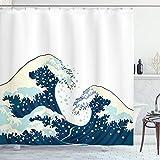 ABAKUHAUS Wellen Duschvorhang, Ozean Surfen im Wasser, Set inkl.12 Haken aus Stoff Wasserdicht Bakterie & Schimmel Abweichent, 175 x 180 cm, Dunkelblau Weiß