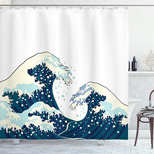 ABAKUHAUS Wellen Duschvorhang, Ozean Surfen im Wasser, Set inkl.12 Haken aus Stoff Wasserdicht Bakterie und Schimmel Abweichent, 175 x 200 cm, Dunkelblau Weiß