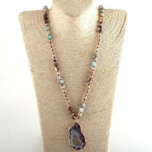WHYBH HYCSP Joyas de Moda Tribal Crystal/Piedra Larga Anudada Irregular de Piedra Collares Pendientes (Length : 88cm, Metal Color : 1)