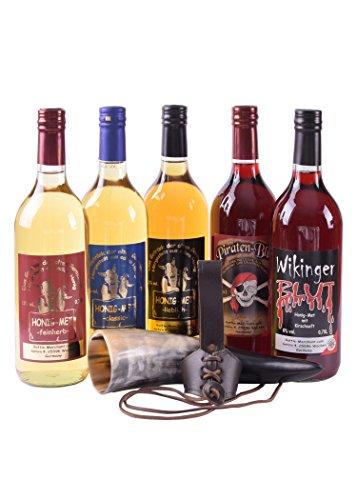 Met Probier-Paket: 5 Flaschen Met mit Trinkhorn & Gürtelhalter - Honigwein Honigmet Geschenk Wikinger Mittelalter LARP Set