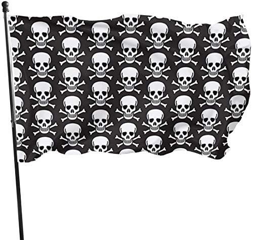 Bandera de jardín con Calaveras en Color Negro para Exteriores, 3 x 5 pies, Bandera de Estados Unidos, poliéster Resistente a los Rayos UV, Vallas Decorativas, jardín, Patio, césped.