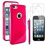 ebestStar - Funda Compatible con iPhone 5C Carcasa Gel Silicona Gel TPU Motivo S-línea, S-Line Case Cover + Lápiz +3 Peliculas, Rosa [Aparato: 124.4 x 59.2 x 9mm, 4.0'']