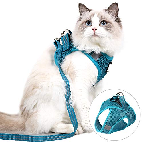 Cat Harness and Leash Set for Walking Lightweight Escape Proof Kitten Vest Harness Soft Fit for Cat Puppy Rabbits Easy Control (XS, Turquoise)