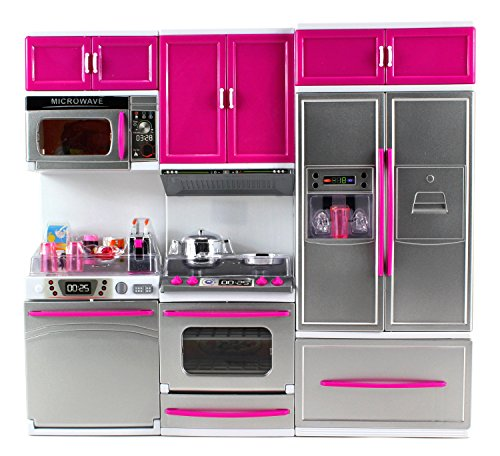 Velocity Toys My Modern Kitchen Dishwasher Stove Refrigerator Battery Operated Toy Doll Kitchen Playset w/ Lights, Sounds, Perfect for Use with 11-12' Tall Dolls