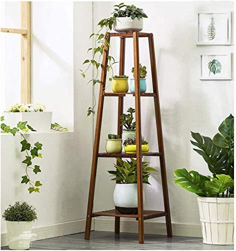 KEWEI - Supporto per Piante con 4 Supporti per Piante, fioriera in Legno, Supporto autoportante per Piante da Ufficio e Balcone (37 x 37 x 120 cm)