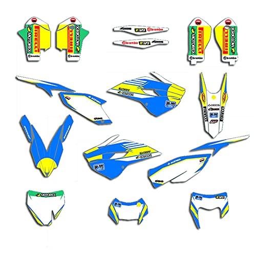 para Husqvarna TE FE 125 250 350 450 2014-2016 TC FC 2014 2015 Equipo Personalizado Motorcycle Graffic Decals Set Stickers Deco (Color : Blank)