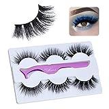 Miss Kiss 3 Pairs Lashes, Premium Siberian Mink Eyelashes, Handmade Natural 3D False Eye Lashes with Tweezer