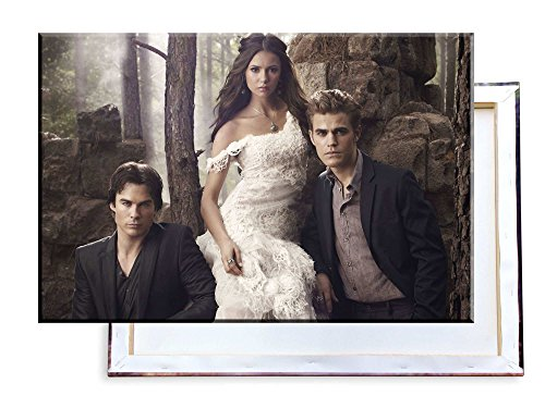 Unified Distribution The Vampire Diaries - Paul Wesley Nina Dobrev Ian Somerhalder - 100x70 cm - Bilder & Kunstdrucke fertig auf Leinwand aufgespannt und in erstklassiger Druckqualität