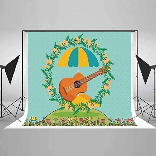 HD 10x7ft Guitar Backdrop Flower Garland Photography Background Summer Music Party Cotton Backdrop (Wrinkle Resistance) Studio Photo Props EAP027